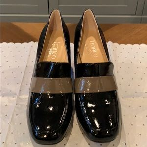 Black and Tan Patent Leather Franco Sarto Pumps